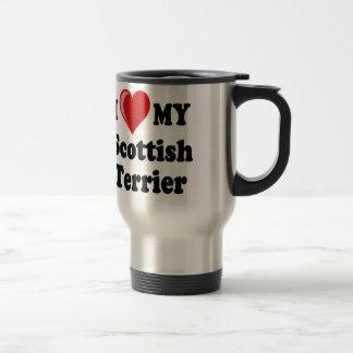 私は(ハート)私のスコットランドテリア犬のギフトを愛します トラベルマグ