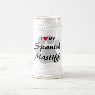 私は(ハート)私のスペインのなマスティフPawprintを愛します ビールジョッキ