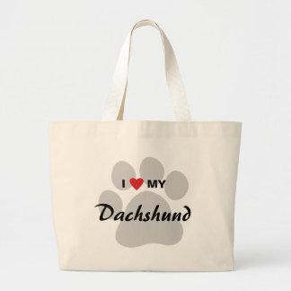 私は(ハート)私のダックスフントPawprintを愛します ラージトートバッグ