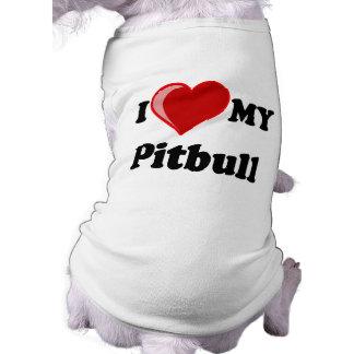 私は(ハート)私のピットブル犬を愛します 犬用袖なしタンクトップ