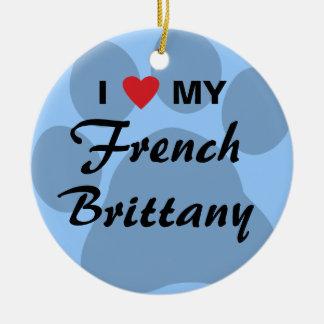 私は(ハート)私のフランスのなブリッタニーを愛します セラミックオーナメント