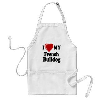 私は(ハート)私のフレンチ・ブルドッグ犬を愛します スタンダードエプロン