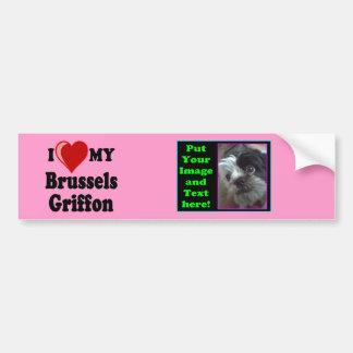私は(ハート)私のブリュッセルGriffon犬のバンパーを愛します バンパーステッカー