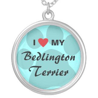 私は(ハート)私のベドリントン・テリアを愛します シルバープレートネックレス