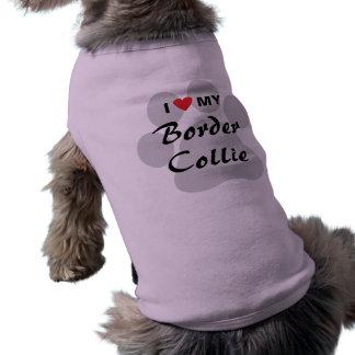 私は(ハート)私のボーダーコリーPawprintを愛します ペット服