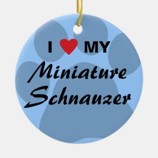 私は(ハート)私のミニチュア・シュナウツァーPawprintを愛します セラミックオーナメント