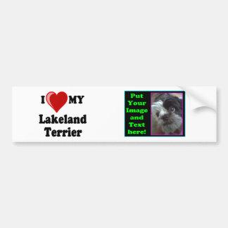 私は(ハート)私のレークランドテリア犬を愛します バンパーステッカー