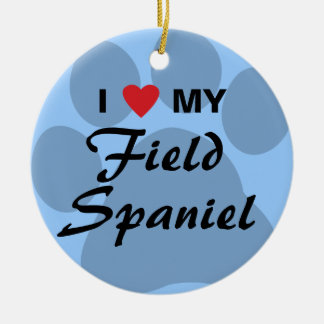 私は(ハート)私の分野スパニエル犬を愛します セラミックオーナメント