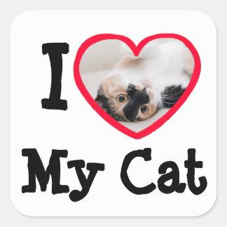 私は(ハート)私の猫の名前入りな写真のステッカーを愛します スクエアシール