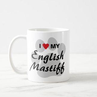 私は(ハート)私の英国のマスティフPawprintを愛します コーヒーマグカップ