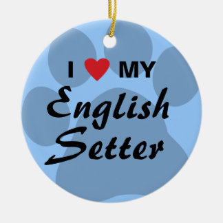 私は(ハート)私の英国セッターを愛します セラミックオーナメント