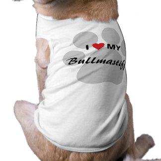 私は(ハート)私のBullmastiff Pawprintを愛します ペット服