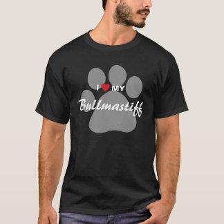 私は(ハート)私のBullmastiff Pawprintを愛します Tシャツ