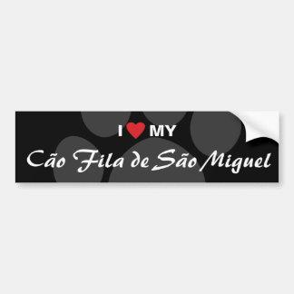 私は(ハート)私のCaoo Fila de Saooミゲルを愛します バンパーステッカー