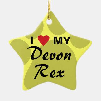 私は(ハート)私のDevonshireのレックス猫Pawprintを愛します セラミックオーナメント