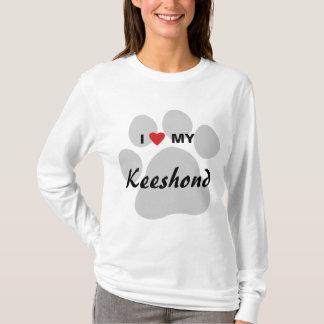 私は(ハート)私のKeeshond Pawprintを愛します Tシャツ