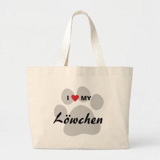 私は(ハート)私のLowchen Pawprintを愛します ラージトートバッグ