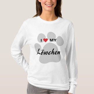 私は(ハート)私のLowchen Pawprintを愛します Tシャツ