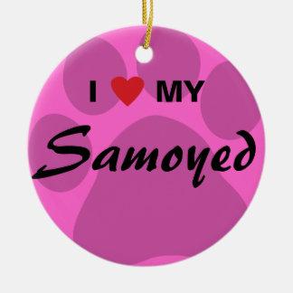 私は(ハート)私のSamoyed Pawprintを愛します セラミックオーナメント