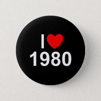 私は(ハート) 1980年を愛します 5.7CM 丸型バッジ