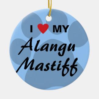 私は(ハート) Alanguの私のマスティフを愛します セラミックオーナメント