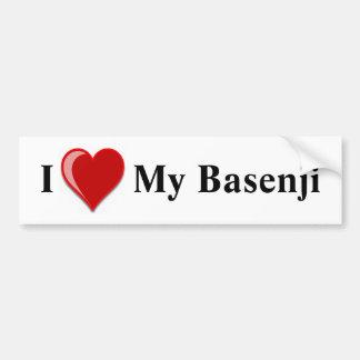 私は(ハート) Basenji私の犬を愛します バンパーステッカー