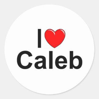 私は(ハート) Calebを愛します ラウンドシール