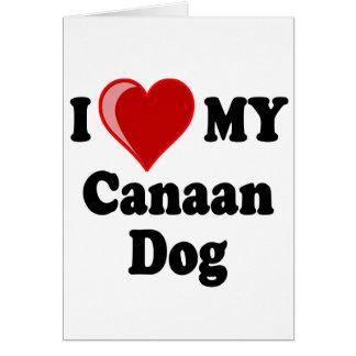私は(ハート) Canaan私の犬を愛します グリーティングカード