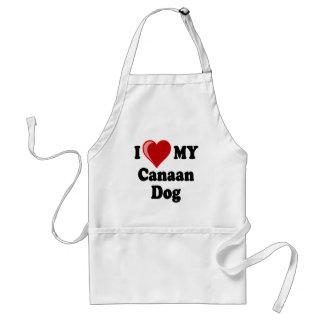 私は(ハート) Canaan私の犬を愛します スタンダードエプロン