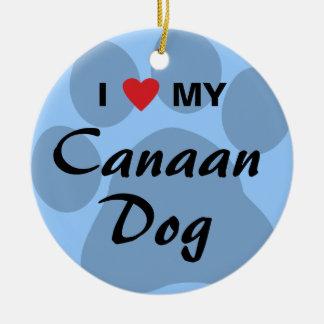 私は(ハート) Canaan私の犬を愛します 陶器製丸型オーナメント