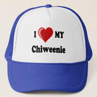 私は(ハート) Chiweenie私の犬を愛します キャップ