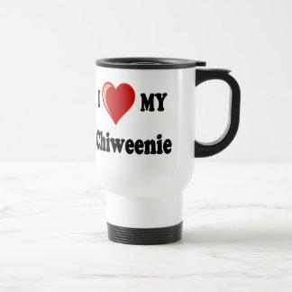 私は(ハート) Chiweenie私の犬を愛します トラベルマグ