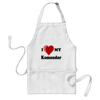 私は(ハート) Komondor私の犬を愛します スタンダードエプロン