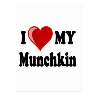 私は(ハート) Munchkin私の猫を愛します ポストカード