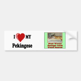 私は(ハート) Pekingese私の犬を愛します バンパーステッカー