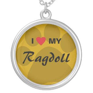 私は(ハート) Ragdoll私の猫Pawprintを愛します シルバープレートネックレス