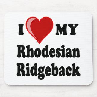 私は(ハート) Rhodesian私のRidgeback犬を愛します マウスパッド