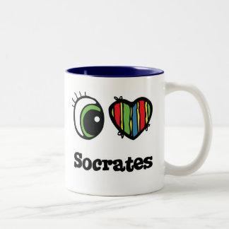 私は(ハート) Socratesを愛します ツートーンマグカップ
