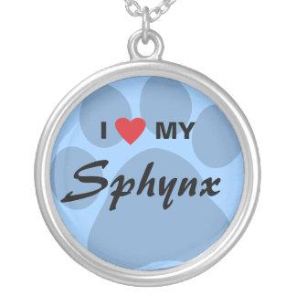 私は(ハート) Sphynx私のPawprintのデザインを愛します シルバープレートネックレス