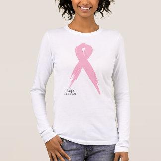 私は-ピンクのリボンを望みます 長袖Tシャツ
