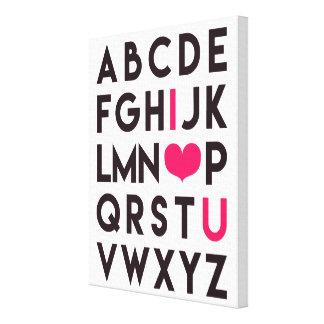私は-ロマンチックなアルファベットのキャンバス愛します キャンバスプリント