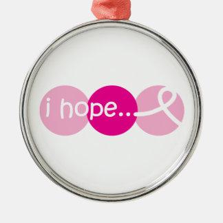 私は-乳癌の認識度のオーナメントを望みます メタルオーナメント