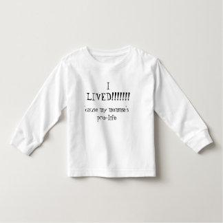 私は!!!!!住んでいました!! 、ので妊娠中絶反対私のmomma トドラーTシャツ
