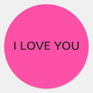 """""""私は""""円形にしますピンクのステッカーを愛します ラウンドシール"""