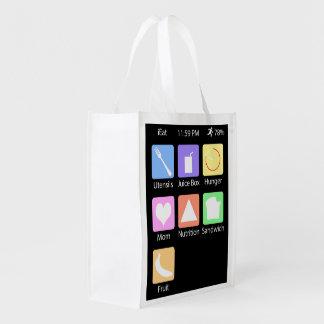 私は-再使用可能な買い物袋を食べます エコバッグ