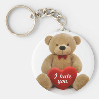 """""""私は""""愛ハートを保持しているかわいいテディー・ベア憎みます キーホルダー"""
