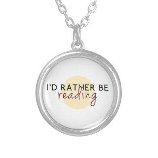 私は-愛書家のために…むしろ読んでいました シルバープレートネックレス