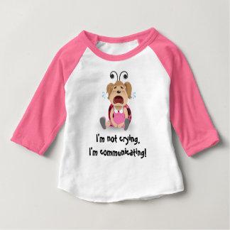 私は、私伝えていますピンクのTシャツを叫んでいません ベビーTシャツ