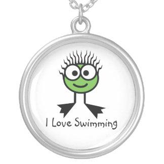 私は-緑の水泳のキャラクターNecklac泳ぐことを愛します シルバープレートネックレス