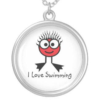 私は-赤い水泳のキャラクターのネックレス泳ぐことを愛します シルバープレートネックレス